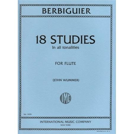 LIVRO FLAUTA 18 ETUDES BERBIGUIER INT MUSIC COMPANY - 800000733